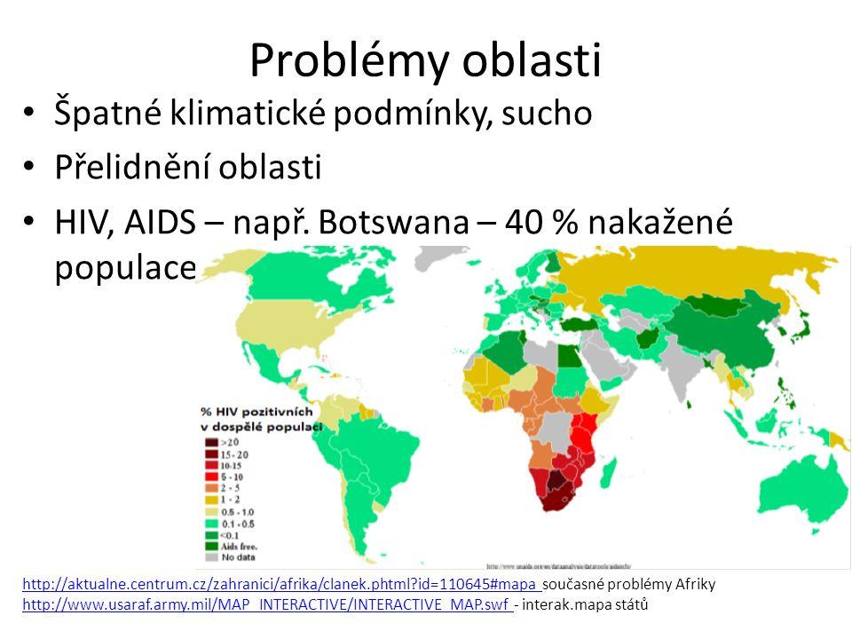 Problémy oblasti Špatné klimatické podmínky, sucho Přelidnění oblasti HIV, AIDS – např. Botswana – 40 % nakažené populace http://aktualne.centrum.cz/z