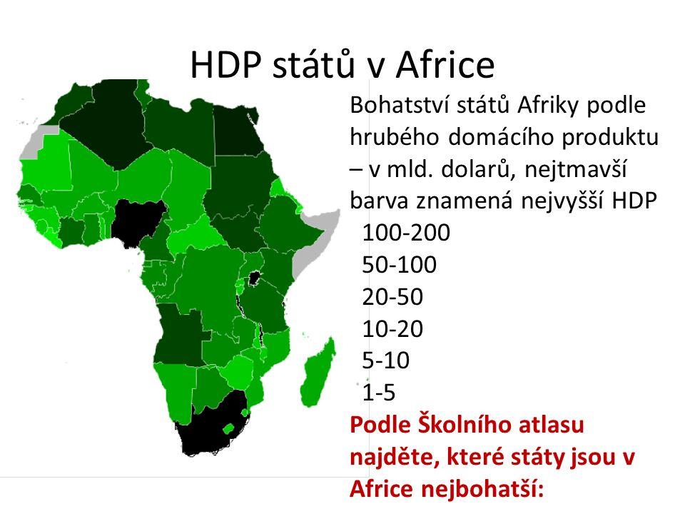 HDP států v Africe Bohatství států Afriky podle hrubého domácího produktu – v mld. dolarů, nejtmavší barva znamená nejvyšší HDP 100-200 50-100 20-50 1