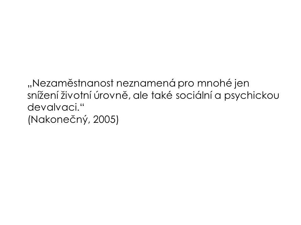 """""""Nezaměstnanost neznamená pro mnohé jen snížení životní úrovně, ale také sociální a psychickou devalvaci. (Nakonečný, 2005)"""