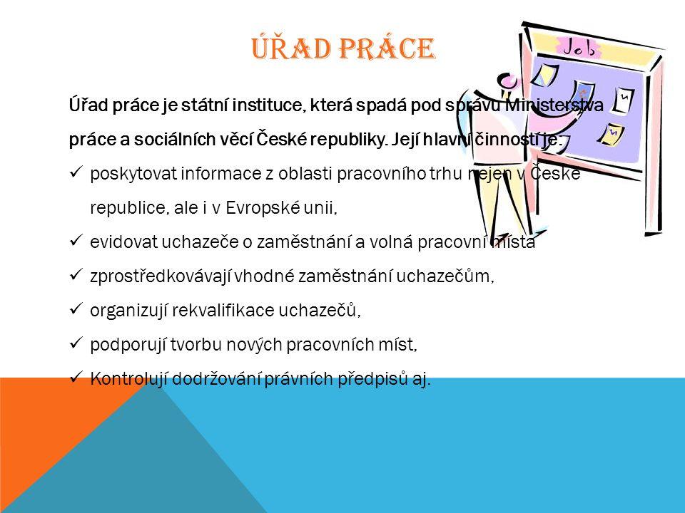 Ú Ř AD PRÁCE Úřad práce je státní instituce, která spadá pod správu Ministerstva práce a sociálních věcí České republiky. Její hlavní činností je: pos