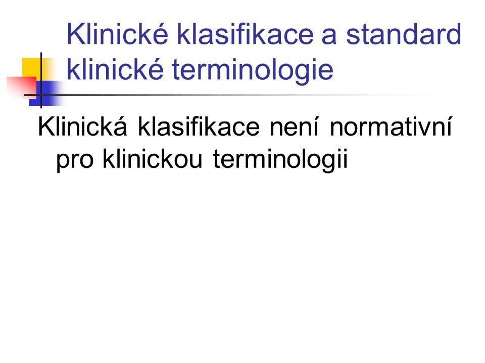 Klinické klasifikace a standard klinické terminologie Klinická klasifikace není normativní pro klinickou terminologii