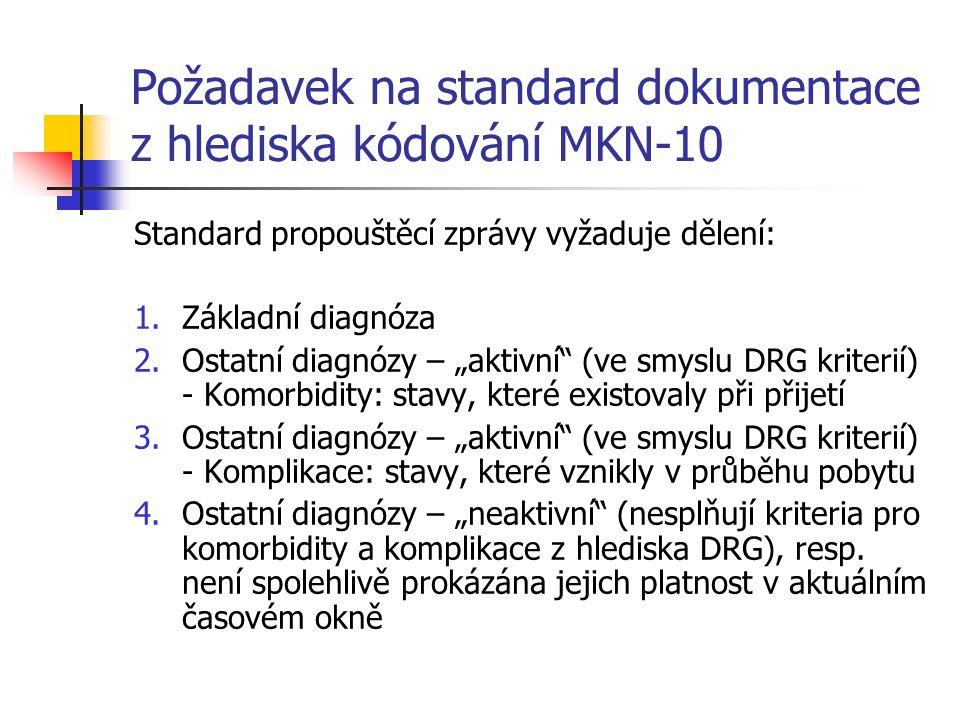 """Požadavek na standard dokumentace z hlediska kódování MKN-10 Standard propouštěcí zprávy vyžaduje dělení: 1.Základní diagnóza 2.Ostatní diagnózy – """"aktivní (ve smyslu DRG kriterií) - Komorbidity: stavy, které existovaly při přijetí 3.Ostatní diagnózy – """"aktivní (ve smyslu DRG kriterií) - Komplikace: stavy, které vznikly v průběhu pobytu 4.Ostatní diagnózy – """"neaktivní (nesplňují kriteria pro komorbidity a komplikace z hlediska DRG), resp."""