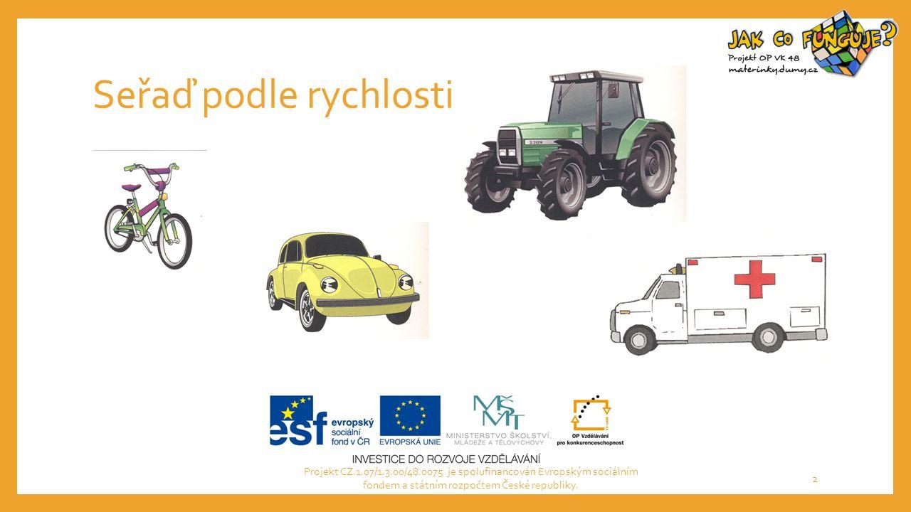 Seřaď podle rychlosti Projekt CZ.1.07/1.3.00/48.0075 je spolufinancován Evropským sociálním fondem a státním rozpočtem České republiky. 2
