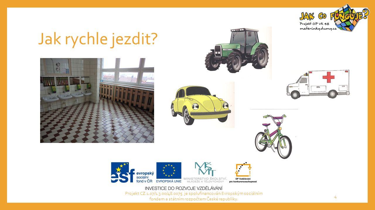 Jak rychle jezdit? Projekt CZ.1.07/1.3.00/48.0075 je spolufinancován Evropským sociálním fondem a státním rozpočtem České republiky. 4
