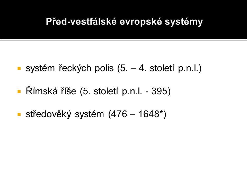  systém řeckých polis (5. – 4. století p.n.l.)  Římská říše (5.