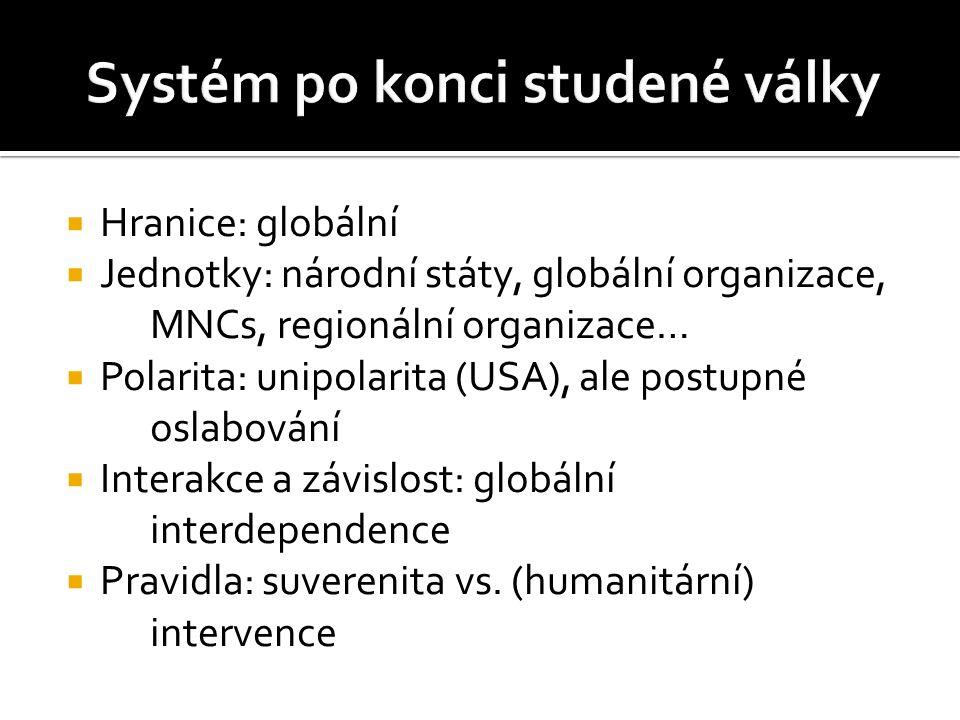  Hranice: globální  Jednotky: národní státy, globální organizace, MNCs, regionální organizace…  Polarita: unipolarita (USA), ale postupné oslabování  Interakce a závislost: globální interdependence  Pravidla: suverenita vs.