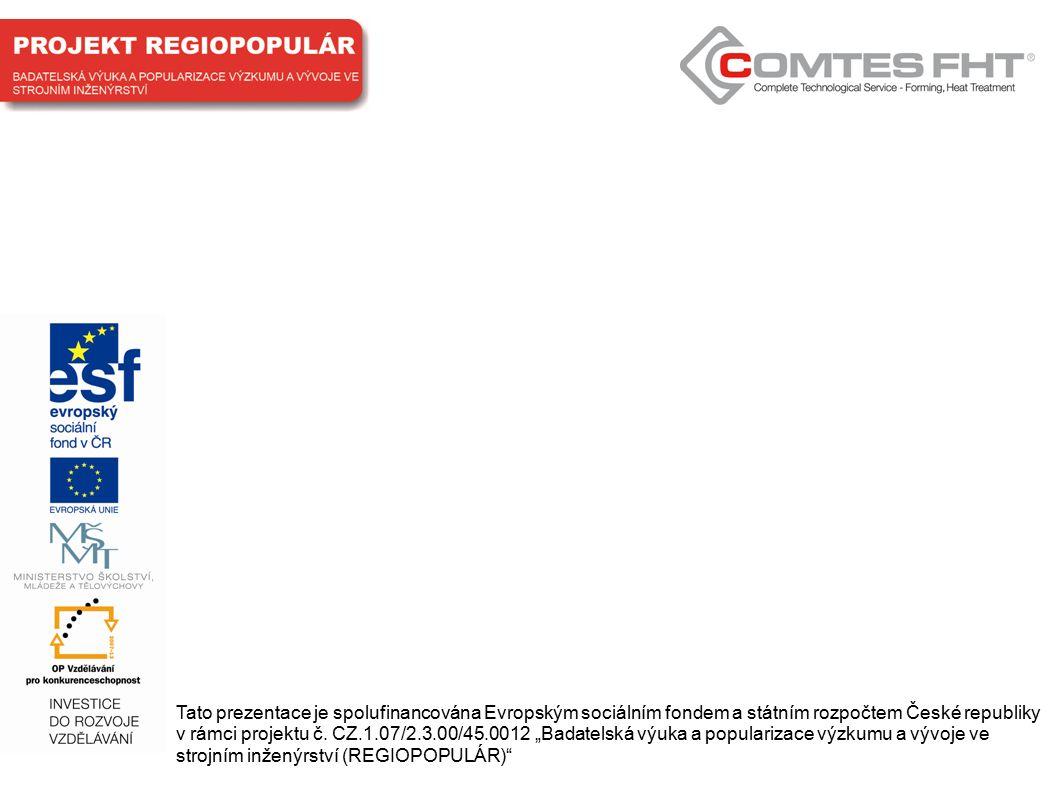 Tato prezentace je spolufinancována Evropským sociálním fondem a státním rozpočtem České republiky v rámci projektu č.