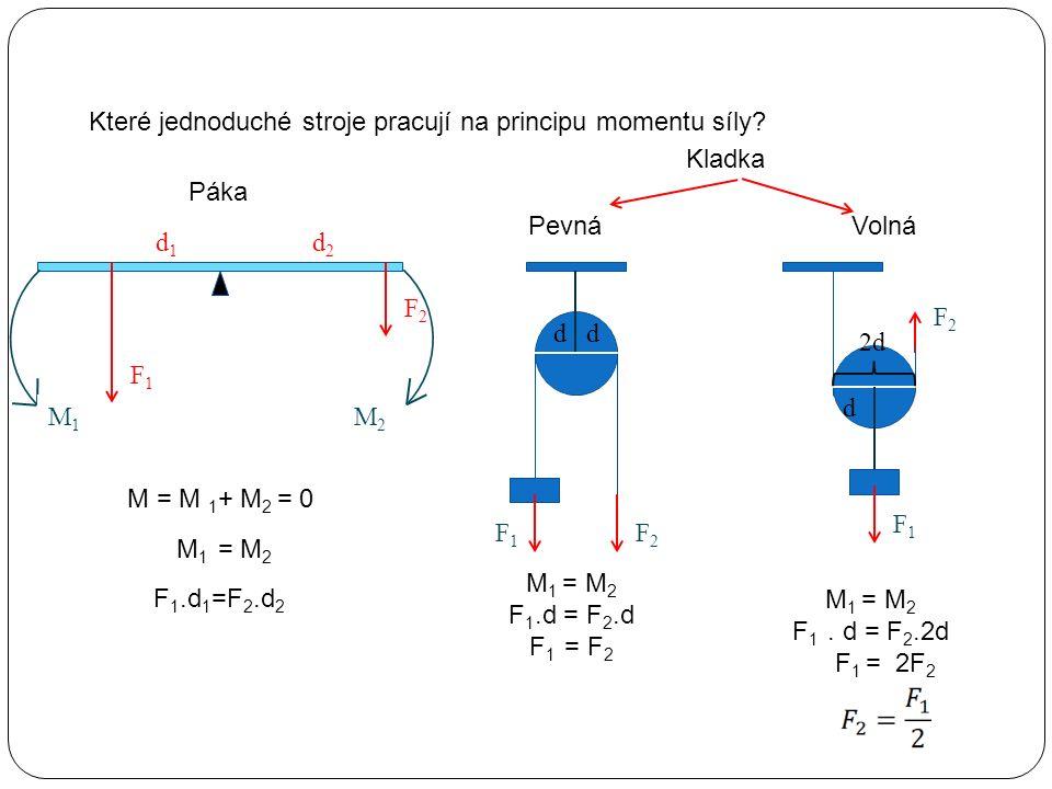 Které jednoduché stroje pracují na principu momentu síly? Páka Kladka PevnáVolná F1F1 F2F2 d1d1 d2d2 M1M1 M2M2 M = M 1 + M 2 = 0 F 1.d 1 =F 2.d 2 F1F1