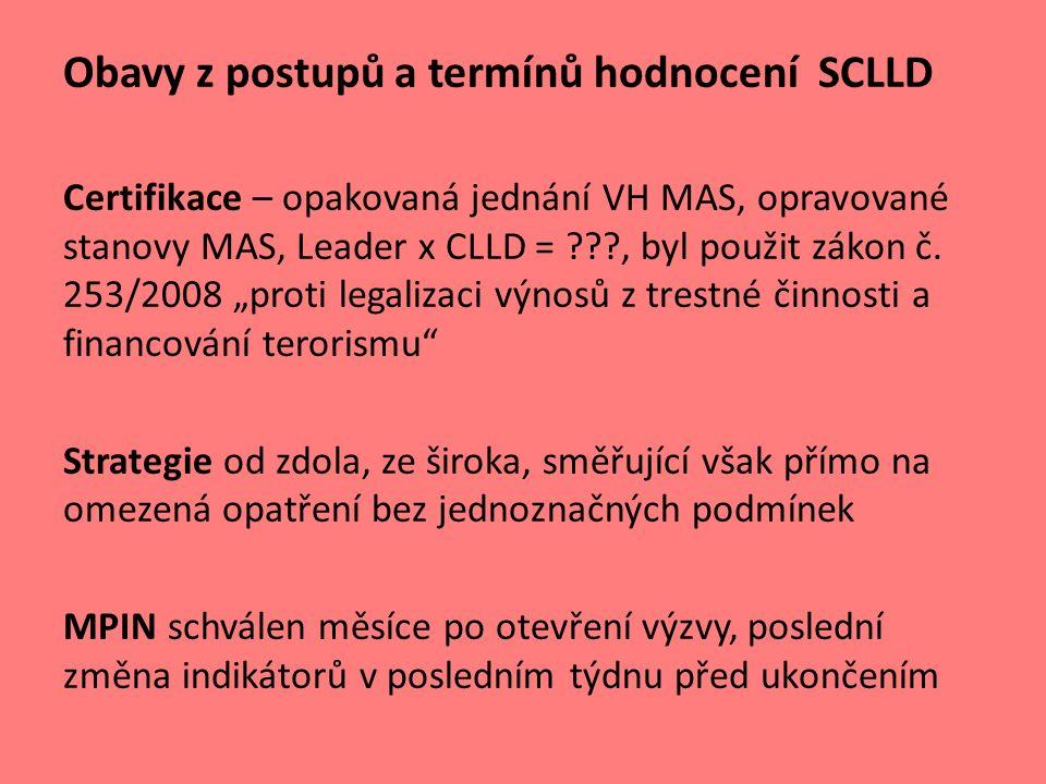 Obavy z postupů a termínů hodnocení SCLLD Certifikace – opakovaná jednání VH MAS, opravované stanovy MAS, Leader x CLLD = , byl použit zákon č.