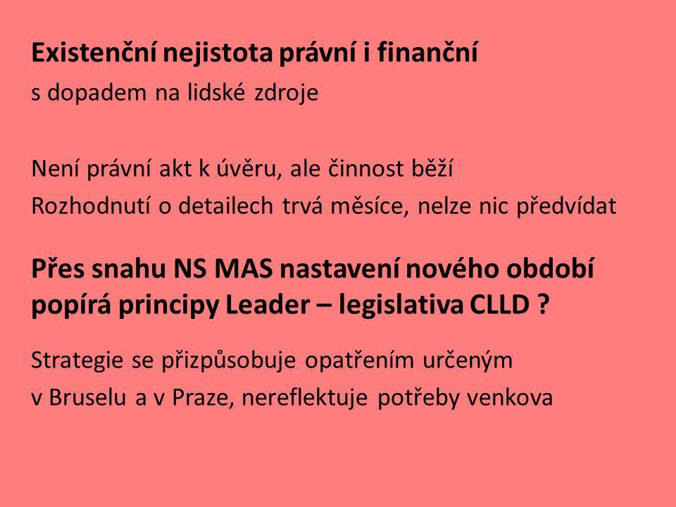 Existenční nejistota právní i finanční s dopadem na lidské zdroje Není právní akt k úvěru, ale činnost běží Rozhodnutí o detailech trvá měsíce, nelze nic předvídat Přes snahu NS MAS nastavení nového období popírá principy Leader – legislativa CLLD .