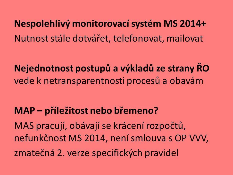 Nespolehlivý monitorovací systém MS 2014+ Nutnost stále dotvářet, telefonovat, mailovat Nejednotnost postupů a výkladů ze strany ŘO vede k netransparentnosti procesů a obavám MAP – příležitost nebo břemeno.