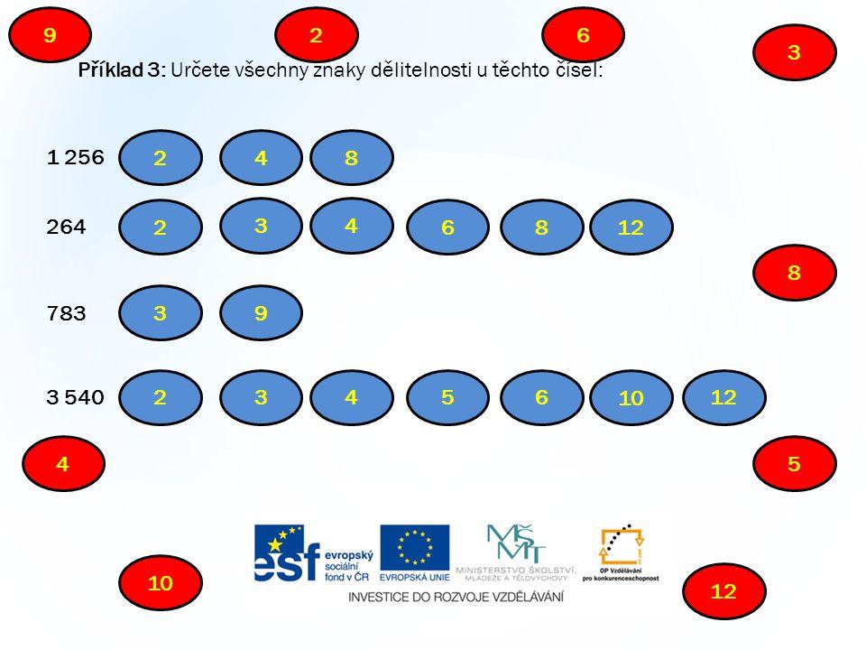 Příklad 3: Určete všechny znaky dělitelnosti u těchto čísel: 1 256 264 783 3 540 2 3 45 6 10 9 8 12 2 2 2 48 34 68 39 3456 10 12