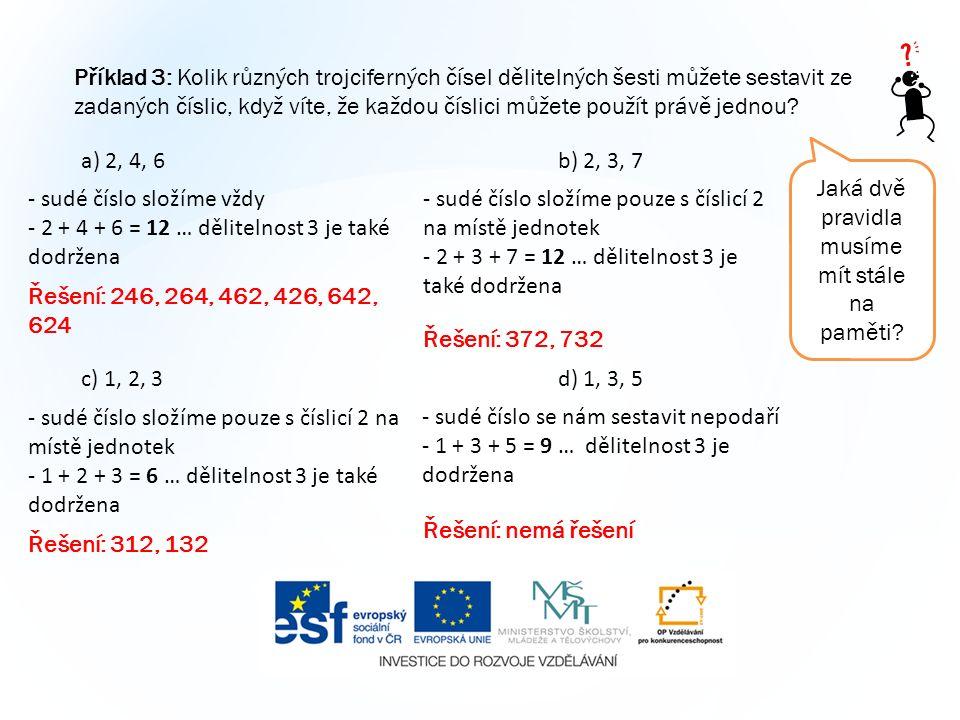 Příklad 3: Kolik různých trojciferných čísel dělitelných šesti můžete sestavit ze zadaných číslic, když víte, že každou číslici můžete použít právě je
