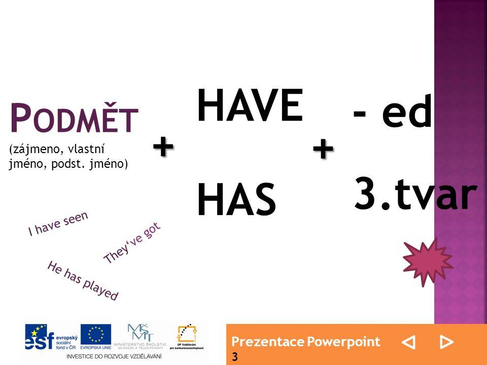 Prezentace Powerpoint 3 schéma P ODMĚT (zájmeno, vlastní jméno, podst.