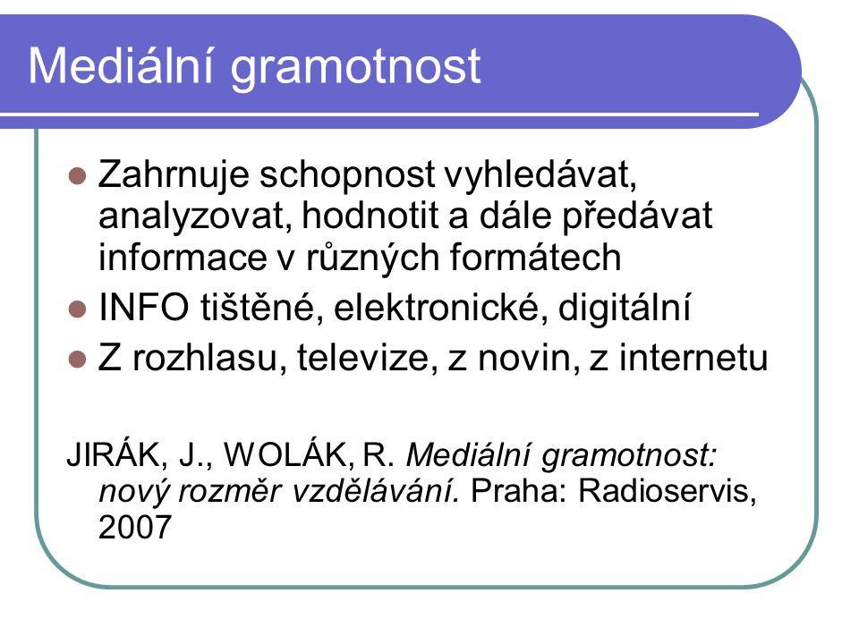 Mediální gramotnost Zahrnuje schopnost vyhledávat, analyzovat, hodnotit a dále předávat informace v různých formátech INFO tištěné, elektronické, digitální Z rozhlasu, televize, z novin, z internetu JIRÁK, J., WOLÁK, R.