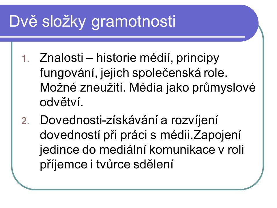 Dvě složky gramotnosti 1. Znalosti – historie médií, principy fungování, jejich společenská role.