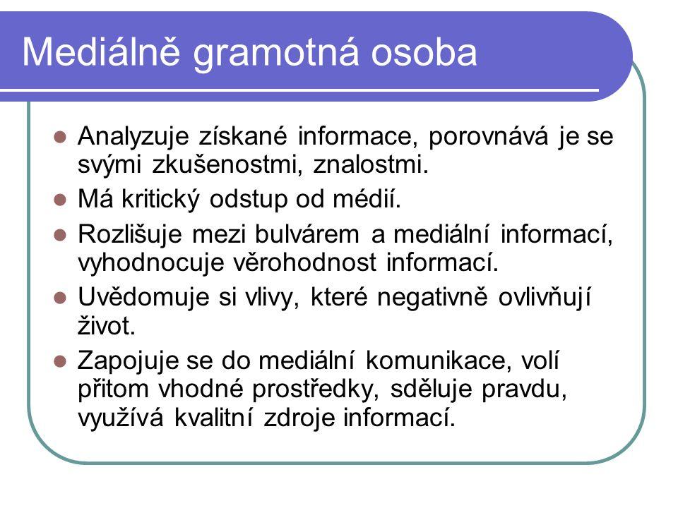 Mediálně gramotná osoba Analyzuje získané informace, porovnává je se svými zkušenostmi, znalostmi.