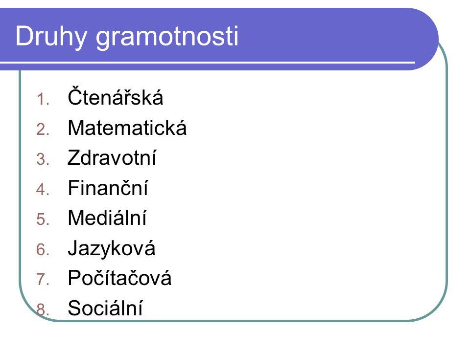 Druhy gramotnosti 1. Čtenářská 2. Matematická 3.