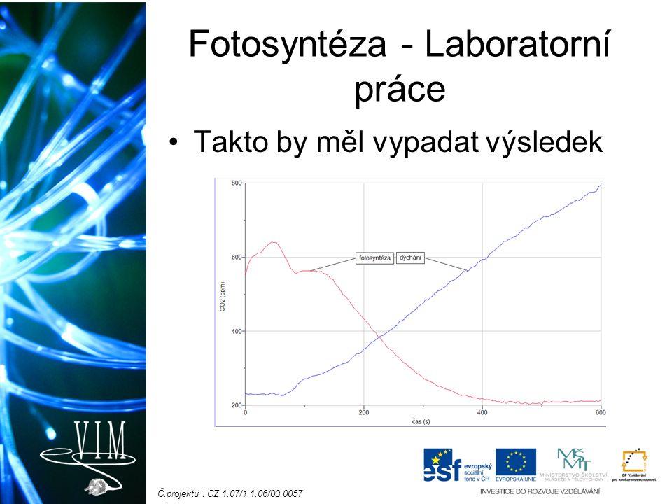 Č.projektu : CZ.1.07/1.1.06/03.0057 Fotosyntéza - Laboratorní práce Takto by měl vypadat výsledek
