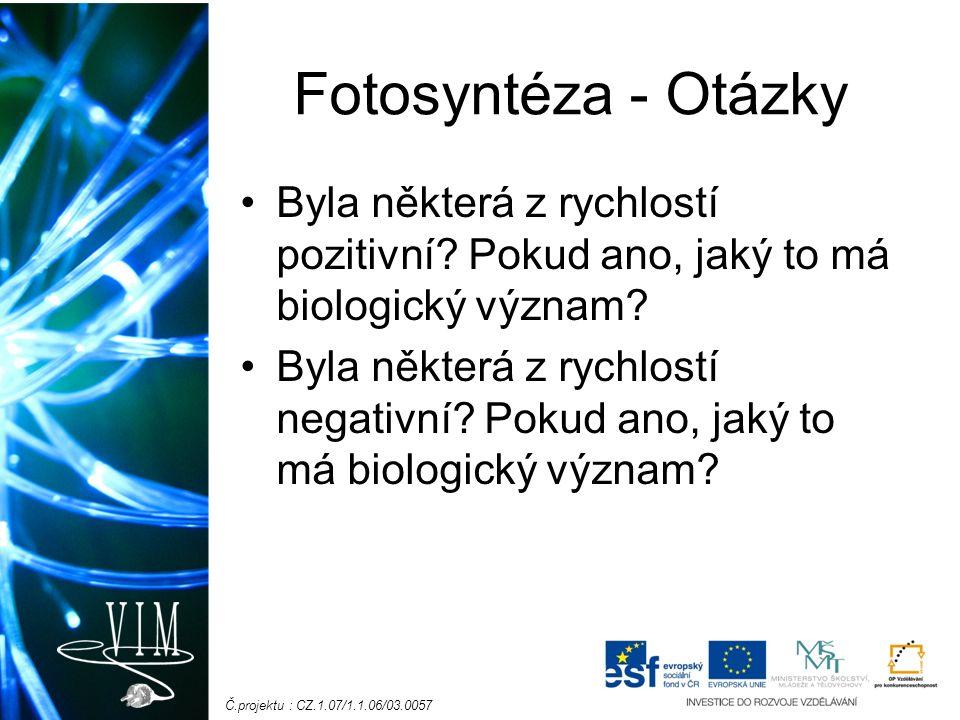 Č.projektu : CZ.1.07/1.1.06/03.0057 Fotosyntéza - Otázky Byla některá z rychlostí pozitivní.