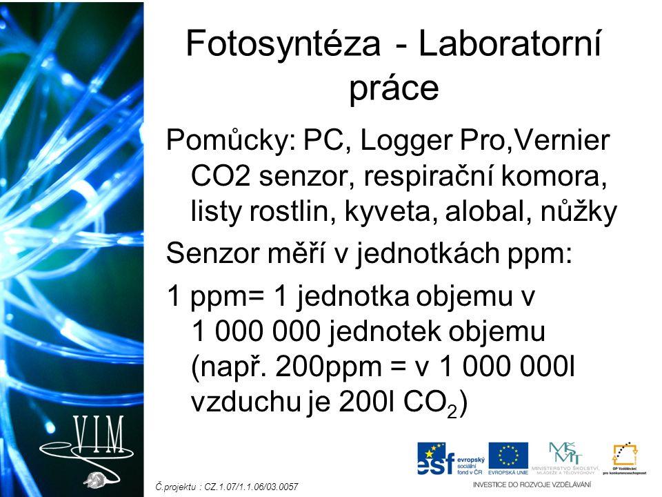 Č.projektu : CZ.1.07/1.1.06/03.0057 Fotosyntéza - Laboratorní práce Pomůcky: PC, Logger Pro,Vernier CO2 senzor, respirační komora, listy rostlin, kyveta, alobal, nůžky Senzor měří v jednotkách ppm: 1 ppm= 1 jednotka objemu v 1 000 000 jednotek objemu (např.