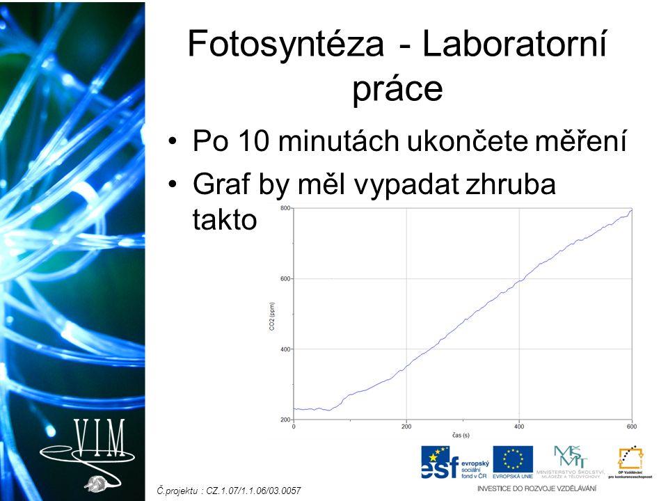 Č.projektu : CZ.1.07/1.1.06/03.0057 Fotosyntéza - Laboratorní práce Po 10 minutách ukončete měření Graf by měl vypadat zhruba takto
