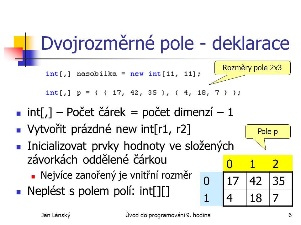 Jan LánskýÚvod do programování 9.hodina27 Zpětná vazba Objevili jste ve slajdech chyby.
