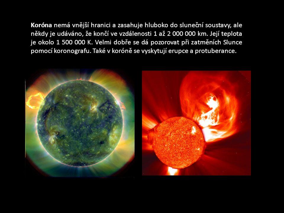 Koróna nemá vnější hranici a zasahuje hluboko do sluneční soustavy, ale někdy je udáváno, že končí ve vzdálenosti 1 až 2 000 000 km. Její teplota je o