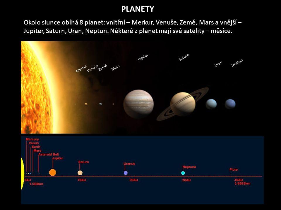 Merkur Venuše Země Mars Jupiter Saturn Uran Neptun Okolo slunce obíhá 8 planet: vnitřní – Merkur, Venuše, Země, Mars a vnější – Jupiter, Saturn, Uran, Neptun.
