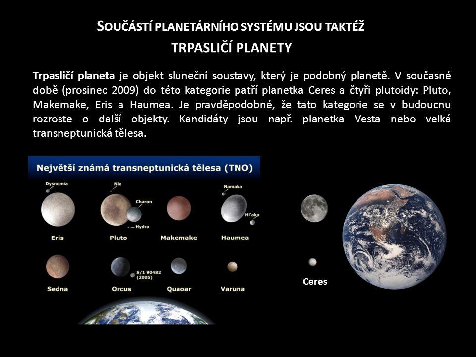 S OUČÁSTÍ PLANETÁRNÍHO SYSTÉMU JSOU TAKTÉŽ TRPASLIČÍ PLANETY Trpasličí planeta je objekt sluneční soustavy, který je podobný planetě. V současné době