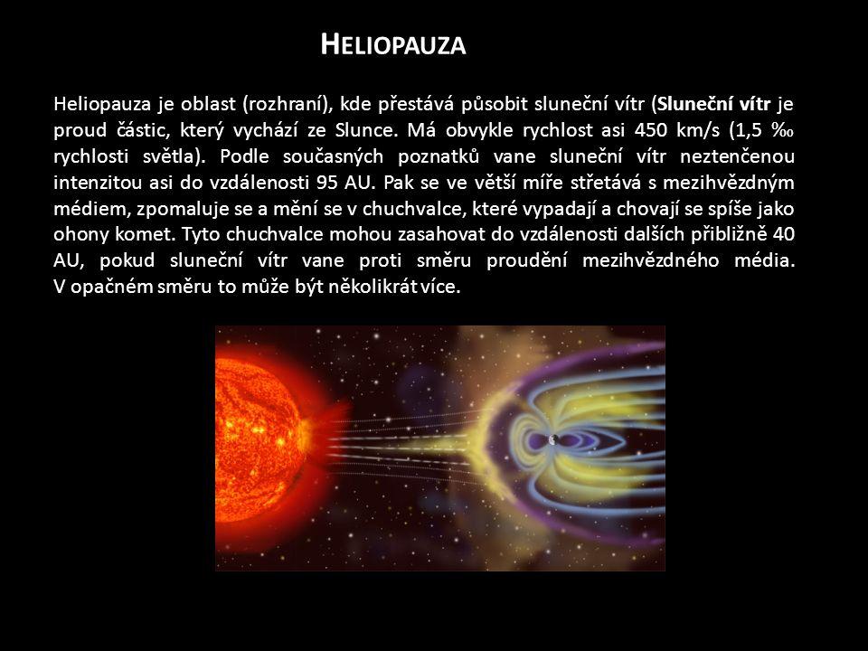 H ELIOPAUZA Heliopauza je oblast (rozhraní), kde přestává působit sluneční vítr (Sluneční vítr je proud částic, který vychází ze Slunce. Má obvykle ry