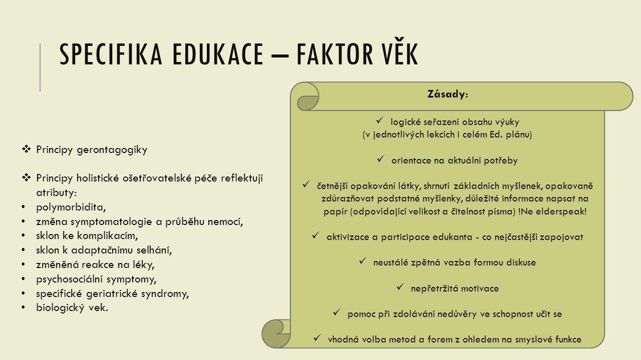 SPECIFIKA EDUKACE – FAKTOR VĚK Zásady: logické seřazení obsahu výuky (v jednotlivých lekcích i celém Ed. plánu) orientace na aktuální potřeby četnější