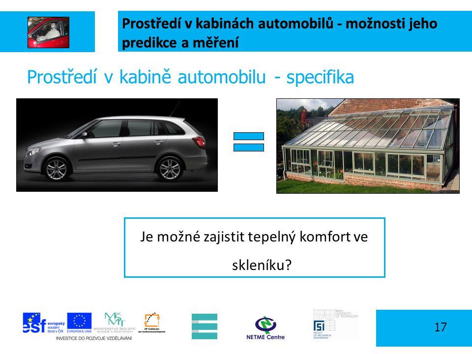 Prostředí v kabinách automobilů - možnosti jeho predikce a měření 17 Prostředí v kabině automobilu - specifika Solar radiation Je možné zajistit tepelný komfort ve skleníku.