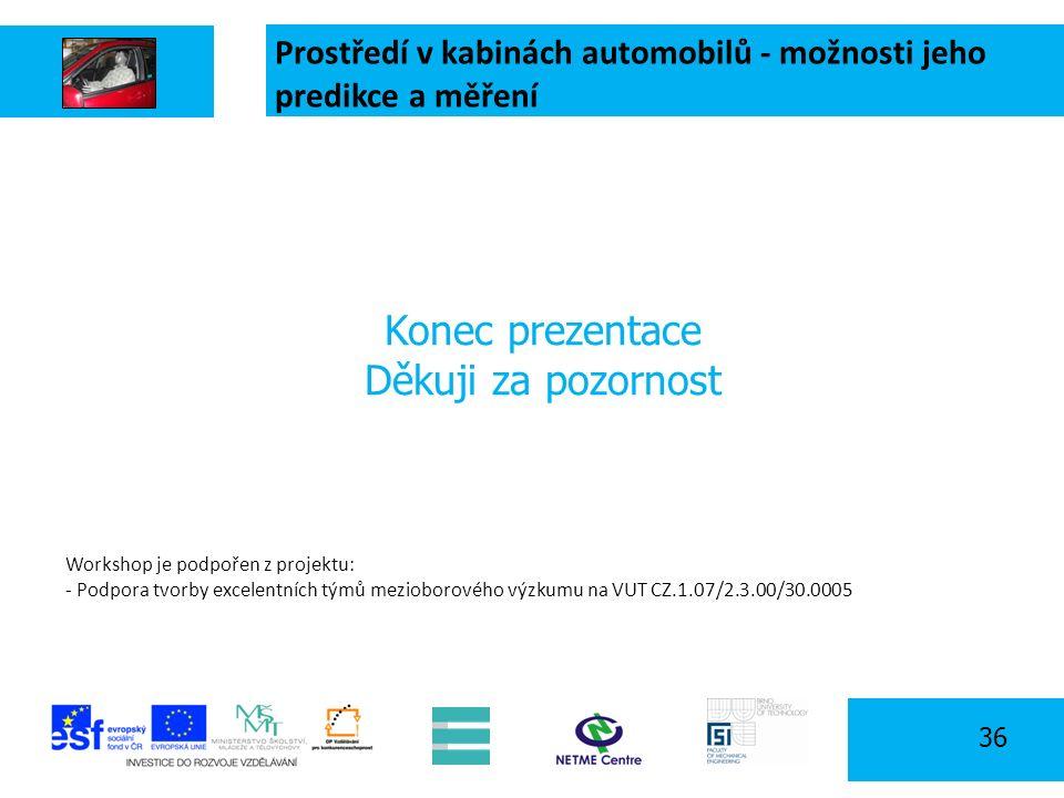Prostředí v kabinách automobilů - možnosti jeho predikce a měření 36 Konec prezentace Děkuji za pozornost Workshop je podpořen z projektu: - Podpora tvorby excelentních týmů mezioborového výzkumu na VUT CZ.1.07/2.3.00/30.0005