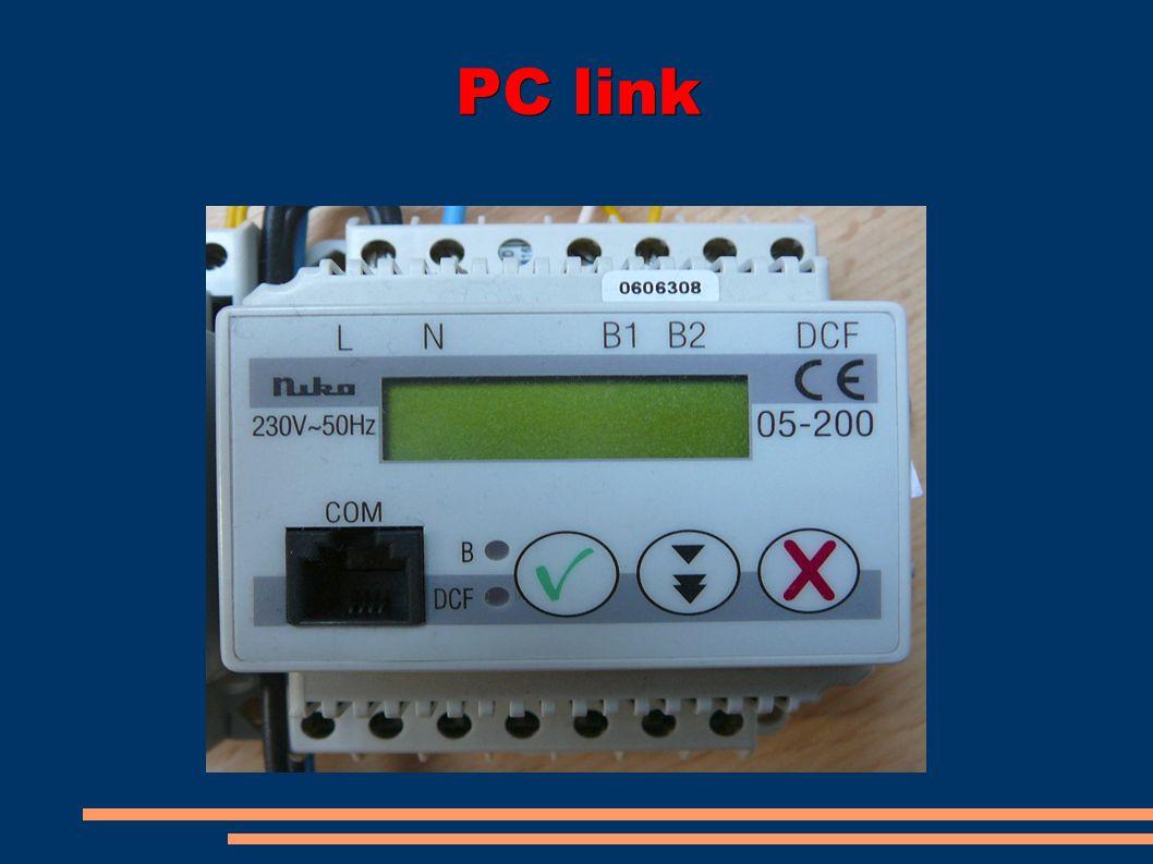 Technické údaje Napájení:AC 230 V 10%, 50 Hz Rezerva chodu:24 hodin s uchováním nastavení při výpadku napájení Připojení na sběrnici Nikobus funkcespojení se senzory a aktory systému Nikobus průřez připojovaných vodičů2 x 0,8 mm napětí na sběrniciDC 9 V, SELV (bezpečné malé napětí) provoz na sběrniciPC-LINK čeká na uvolnění sběrnice a pak vyšle zprávu