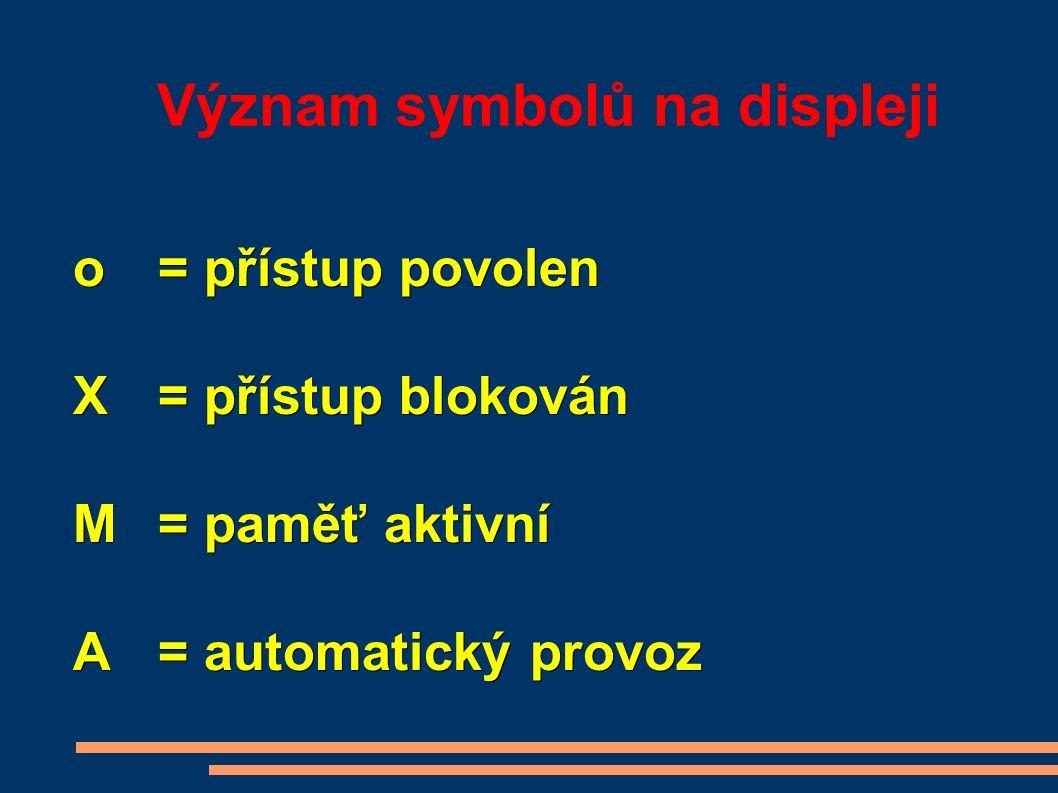 Význam symbolů na displeji o= přístup povolen X = přístup blokován M = paměť aktivní A = automatický provoz