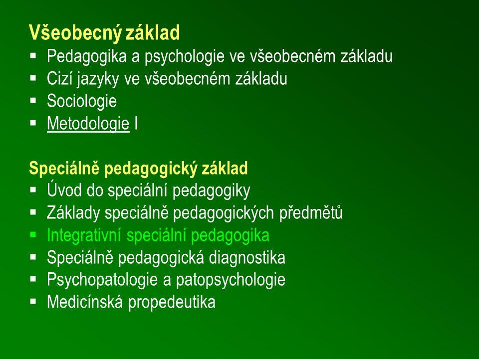 Všeobecný základ  Pedagogika a psychologie ve všeobecném základu  Cizí jazyky ve všeobecném základu  Sociologie  Metodologie I Speciálně pedagogic