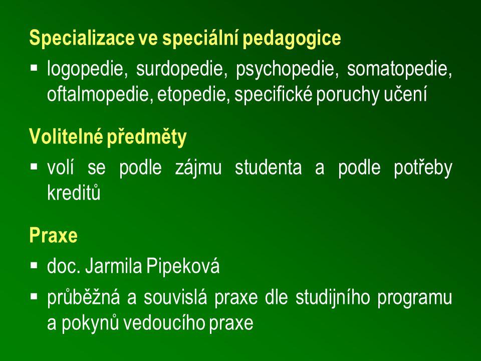 Specializace ve speciální pedagogice  logopedie, surdopedie, psychopedie, somatopedie, oftalmopedie, etopedie, specifické poruchy učení Volitelné předměty  volí se podle zájmu studenta a podle potřeby kreditů Praxe  doc.