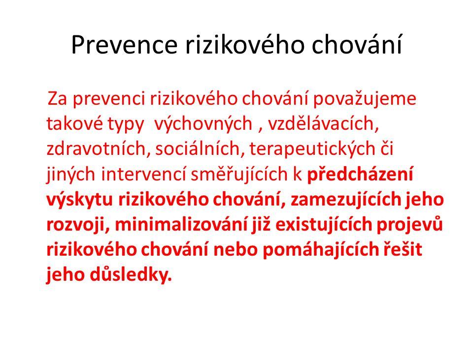 Prevence rizikového chování Za prevenci rizikového chování považujeme takové typy výchovných, vzdělávacích, zdravotních, sociálních, terapeutických či jiných intervencí směřujících k předcházení výskytu rizikového chování, zamezujících jeho rozvoji, minimalizování již existujících projevů rizikového chování nebo pomáhajících řešit jeho důsledky.