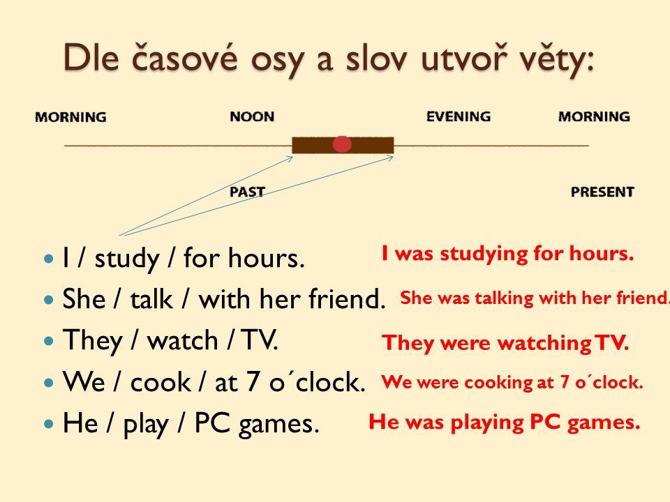 Dle časové osy a slov utvoř věty: I / study / for hours.