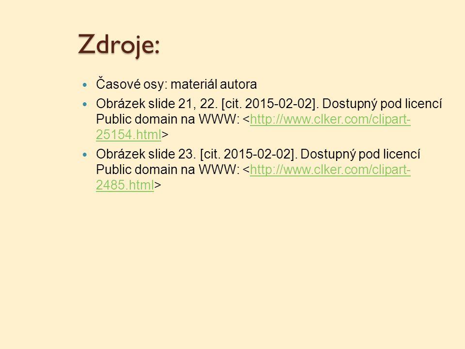 Zdroje: Časové osy: materiál autora Obrázek slide 21, 22. [cit. 2015-02-02]. Dostupný pod licencí Public domain na WWW: http://www.clker.com/clipart-