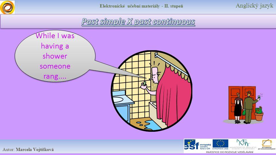 Elektronické učební materiály - II. stupeň Anglický jazyk Autor: Marcela Vojtíšková While I was having a shower someone rang....
