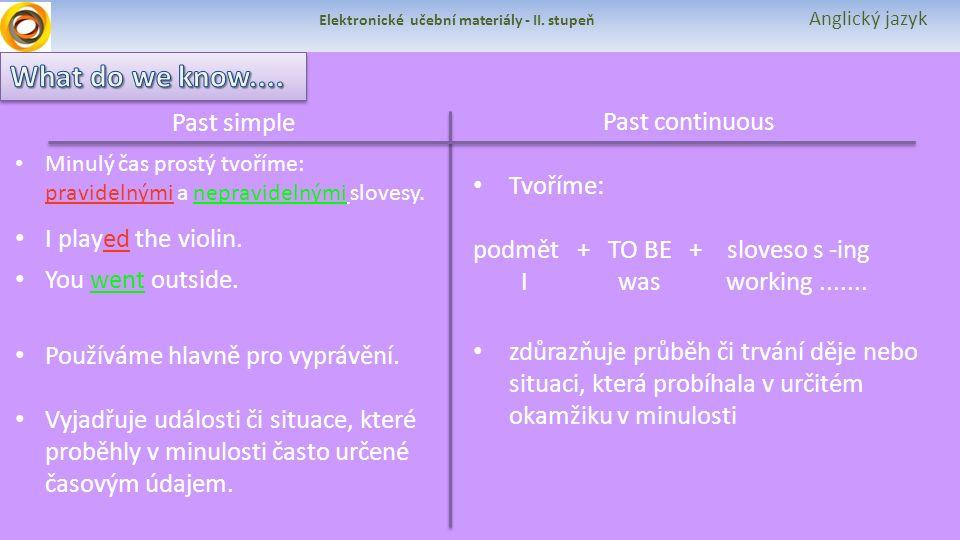 Elektronické učební materiály - II. stupeň Anglický jazyk Past simple Past continuous Minulý čas prostý tvoříme: pravidelnými a nepravidelnými slovesy
