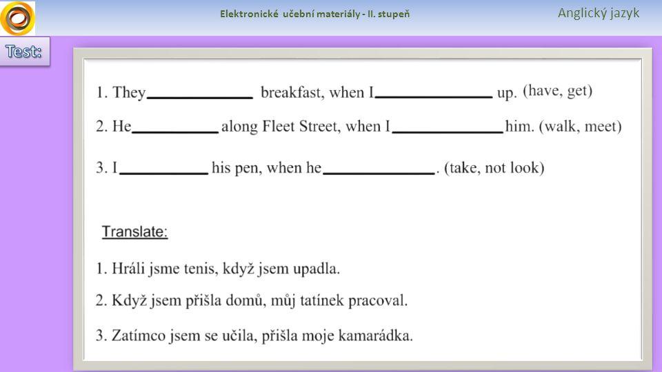 Elektronické učební materiály - II. stupeň Anglický jazyk
