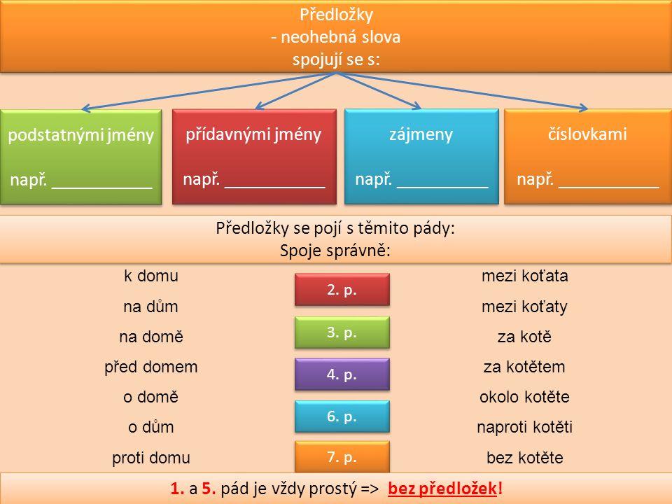 Předložky - neohebná slova spojují se s: podstatnými jmény např.