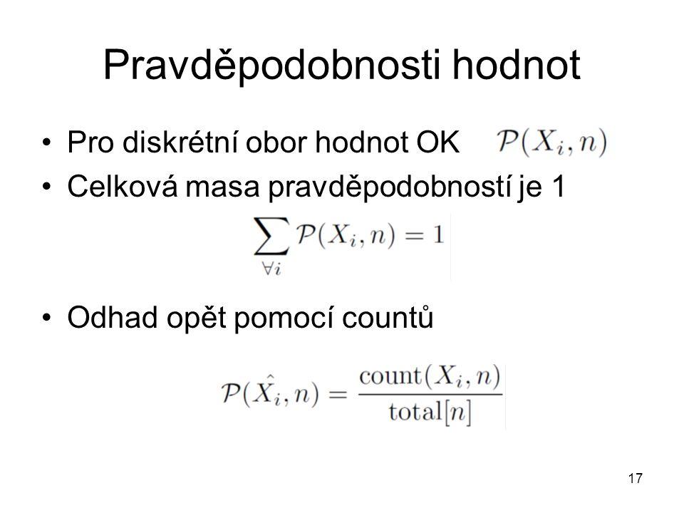 Pravděpodobnosti hodnot Pro diskrétní obor hodnot OK Celková masa pravděpodobností je 1 Odhad opět pomocí countů 17