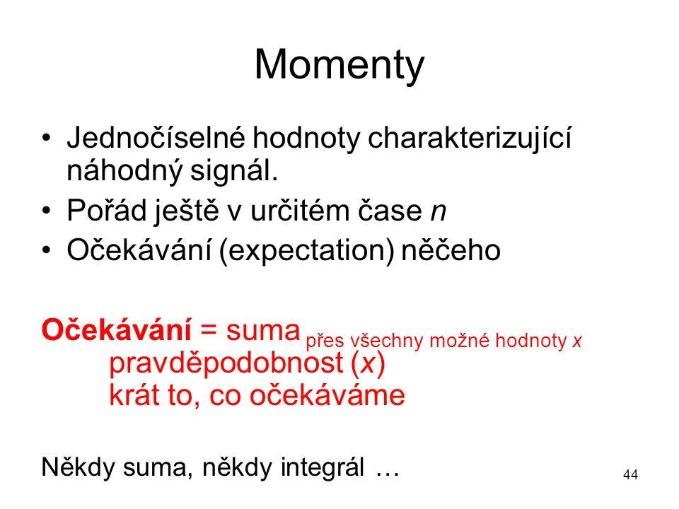 Momenty Jednočíselné hodnoty charakterizující náhodný signál.