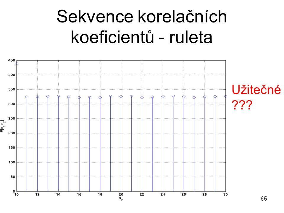 Sekvence korelačních koeficientů - ruleta 65 Užitečné ???