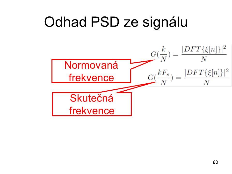 Odhad PSD ze signálu 83 Normovaná frekvence Skutečná frekvence