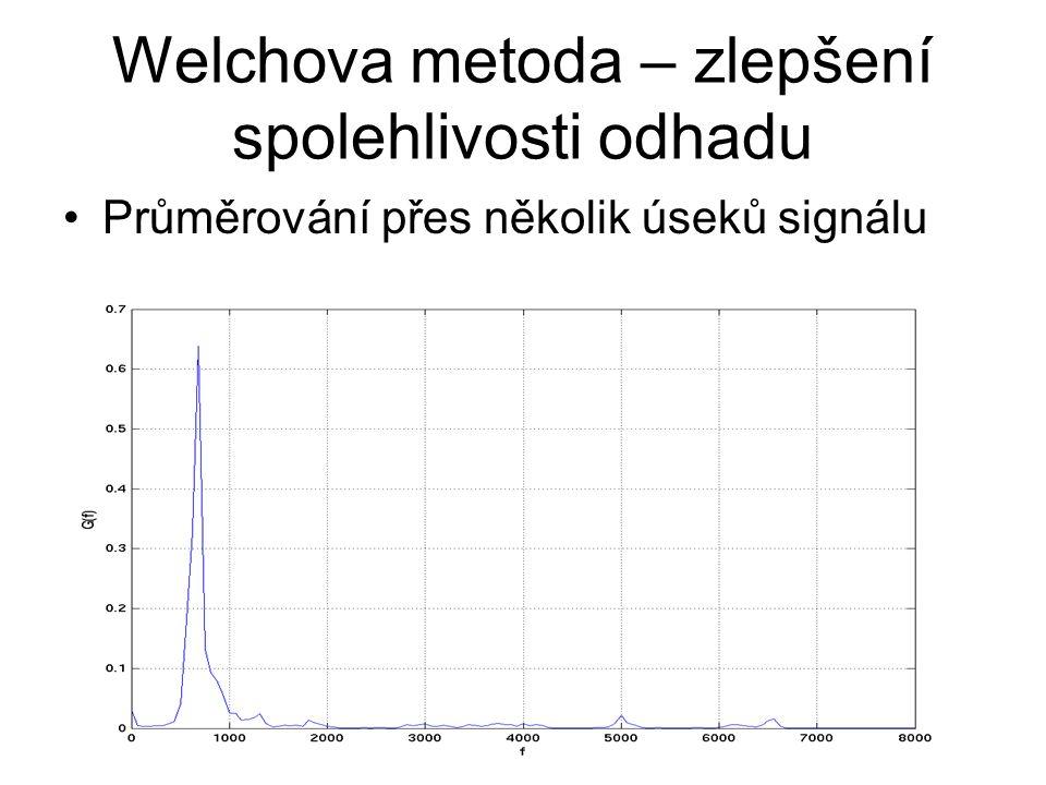 Welchova metoda – zlepšení spolehlivosti odhadu Průměrování přes několik úseků signálu 85